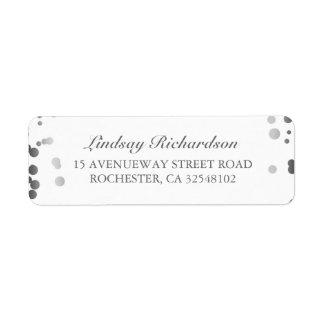 Silver Confetti White Elegant Wedding Return Address Label