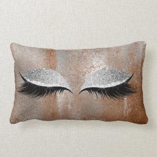 Silver Copper Glitter Lashes Makeup Eye Distressed Lumbar Pillow