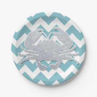 Silver Crab Silhouette, Blue Chevron Pattern Paper Plate