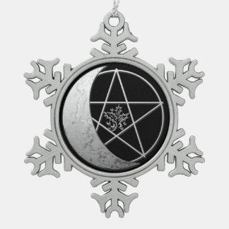 Silver Crescent Moon & Pentagram Pewter Keepsake 1 Snowflake Pewter Christmas Ornament