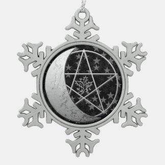 Silver Crescent Moon & Pentagram Pewter Keepsake 2 Snowflake Pewter Christmas Ornament