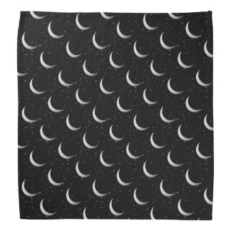 Silver crescent moons - starry background bandana