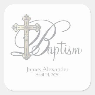 silver cross BAPTISM custom party favor label Square Sticker
