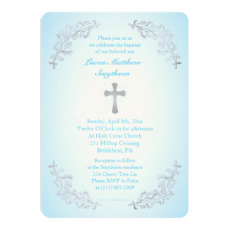 Silver Cross Blue Baptism Photo Invitation