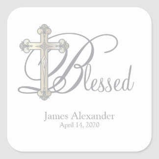 silver cross CHRISTENING custom party favor label Square Sticker