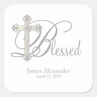 silver cross CHRISTENING custom party favor label Square Sticker