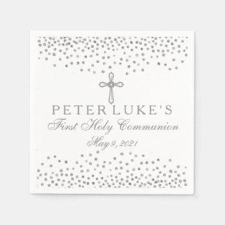 Silver Cross Confetti Communion Custom Napkin Disposable Serviette