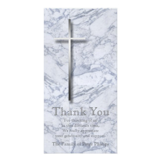 Silver Cross Marble 1 Sympathy Thank You Custom Photo Card