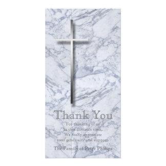 Silver Cross / Marble 1 - Sympathy Thank You Custom Photo Card