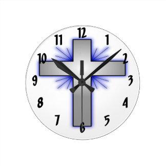 Silver Cross Round Clock