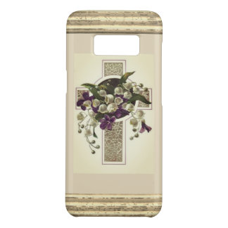 Silver Cross With Purple Flowers Case-Mate Samsung Galaxy S8 Case
