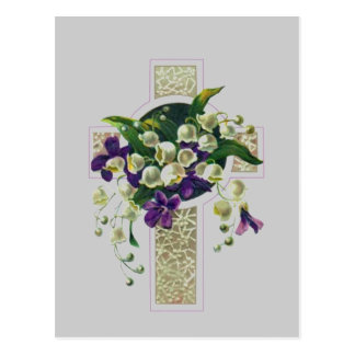 Silver Cross With Purple  Flowers Postcard