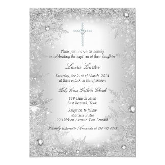 Silver Crystal Snowflake Baptism/Christening 13 Cm X 18 Cm Invitation Card