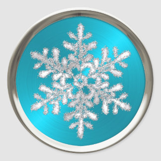 Silver Crystal Snowflake on Turquoise Seal Round Sticker