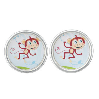 Silver cufflinks with Brown Monkey