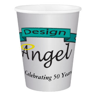 Silver Custom Logo Branded Paper Cups W/ Text
