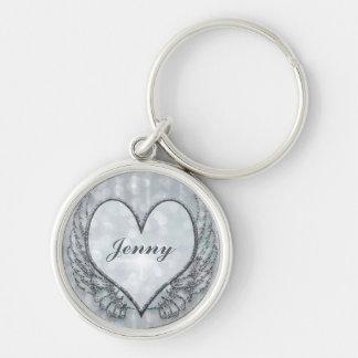 Silver Custom Memorial Heart Key Ring