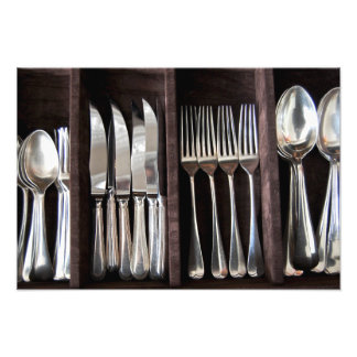 Silver Cutlery in Draw Photography Poster Photo