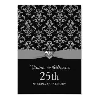 Silver Damask 25th Wedding Anniversary Invitation