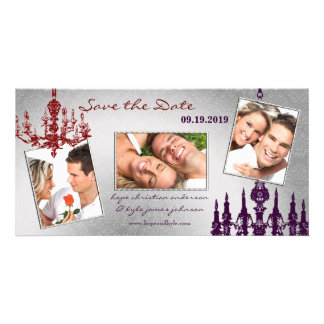 Silver Damask Chandelier Red Plum Save The Date Custom Photo Card