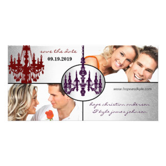 Silver Damask Chandelier Save The Date Photo Photo Card