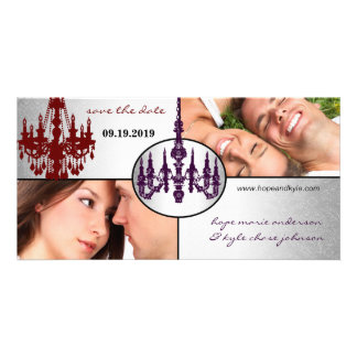 Silver Damask Chandelier Save The Date Photo Picture Card