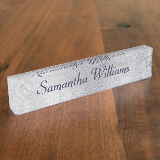 Silver Damask Custom Desk Nameplate