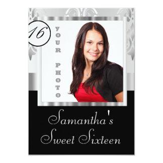 Silver damask instagram  sweet sixteen 11 cm x 16 cm invitation card