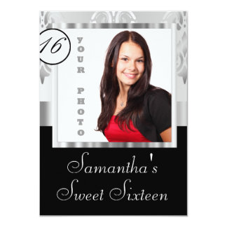 Silver damask instagram  sweet sixteen personalized invitation