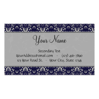 Silver Damask on Blue with Stripes and Monogram Double-Sided Standard Business Cards (Pack Of 100)