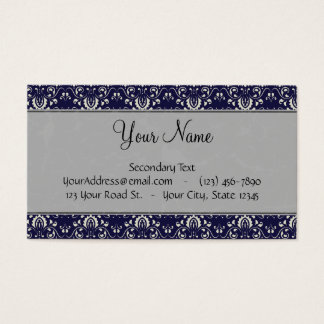 Silver Damask on Blue with Stripes and Monogram Business Card