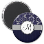 Silver Damask on Blue with Stripes and Monogram 6 Cm Round Magnet