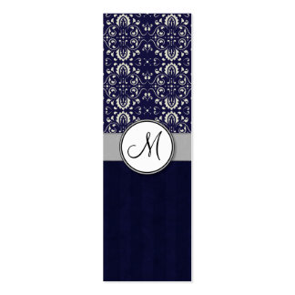Silver Damask on Blue with Stripes and Monogram Pack Of Skinny Business Cards