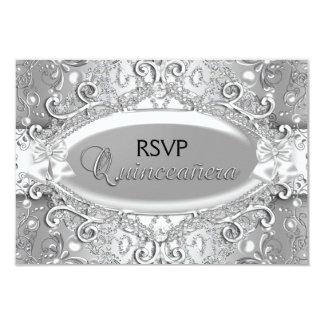 Silver Damask Pearl Quinceanera RSVP 9 Cm X 13 Cm Invitation Card