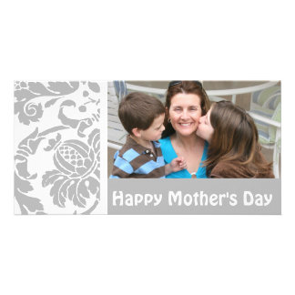 Silver Damask Photo Card Mother's Day