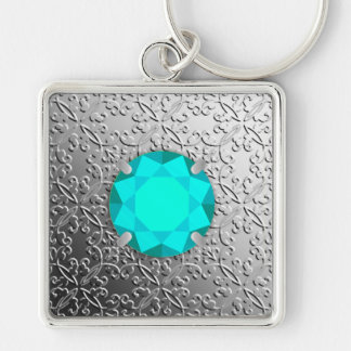Silver Damask with a faux aquamarine gemstone Silver-Colored Square Key Ring