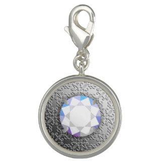Silver Damask with a faux diamond gemstone