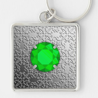 Silver Damask with a faux emerald gemstone Silver-Colored Square Keychain