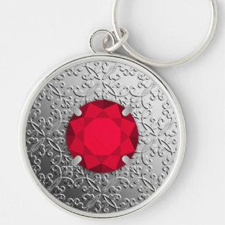 Silver Damask with a faux garnet gemstone Key Ring