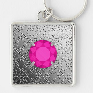 Silver Damask with a faux pink tourmaline gem Silver-Colored Square Key Ring