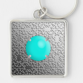 Silver Damask with a faux turquoise gemstone Silver-Colored Square Keychain