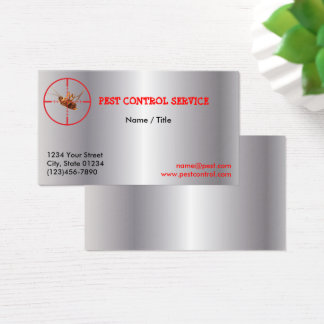 Silver Dead Roach Pest Service 1 Sided Business Card
