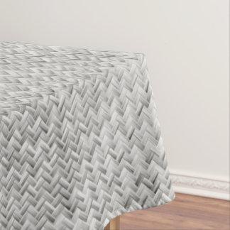 Silver Diagonal Basket Weave Geometric Pattern Tablecloth