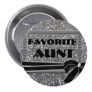 Silver Diamond Frame Favorite Aunt - Button