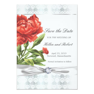 Silver Diamond & Red Flower Elegant Save the Date Card