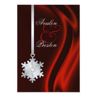 Silver Diamond Snowflake Red Silk Invitation
