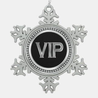 Silver Diamond VIP Christmas Pewter Snowflake Decoration