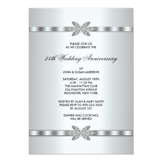 Silver Diamonds 25th Anniversary Party 13 Cm X 18 Cm Invitation Card