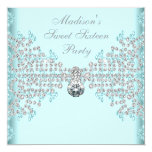 Silver Diamonds Teal Blue Sweet 16 Birthday Party Custom Announcements