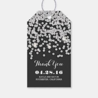 Silver Diamonds Wedding Thank You Gift Tags